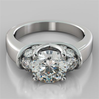 2.56Ct Round Cut Trellis Style Tapered Engagement Ring in 14K White Gold