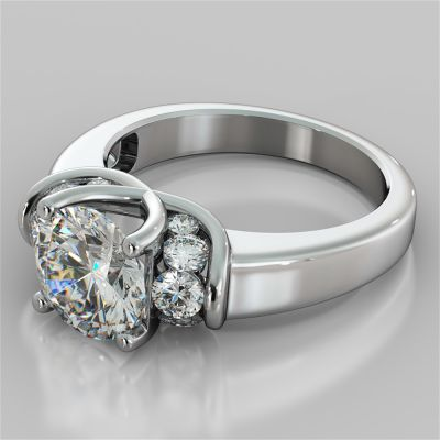Round Cut Trellis Style Tapered Engagement Ring