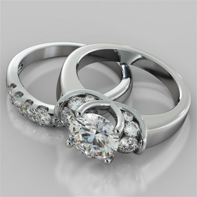 Round Cut Tapered Trellis Style Wedding Set