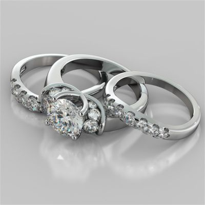 Round Cut Trio Wedding Set With 2 Matching Bands