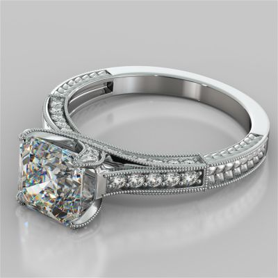 2.50Ct Asscher Cut Vintage-Style Engagement Ring in 14K White Gold