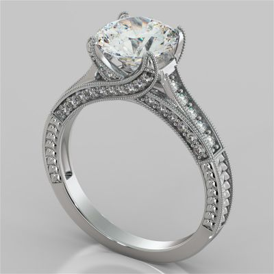 2.50Ct Antique-Style Round Cut Engagement Ring in 14K White Gold