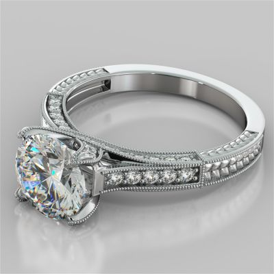 Antique-Style Round Cut Engagement Ring