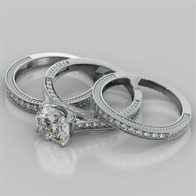 Antique-Style Round Cut Trio Wedding Set With 2 Matching Bands