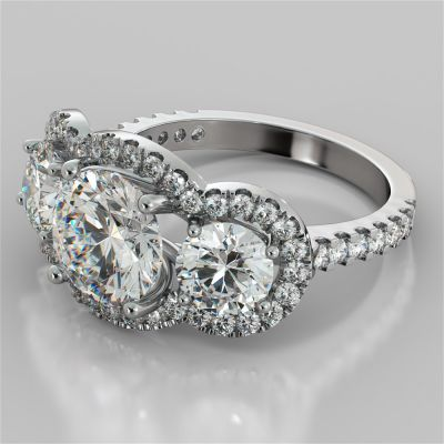 Round Cut Three-Stone Trellis Engagement Ring with Accents