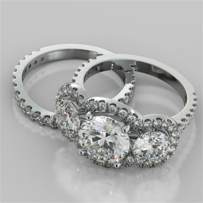 Round Cut Three-Stone Scalloped Trellis Wedding Set