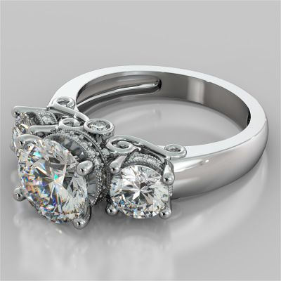 Round Cut Three Stone Filigree Engagement Ring with Crown Accents