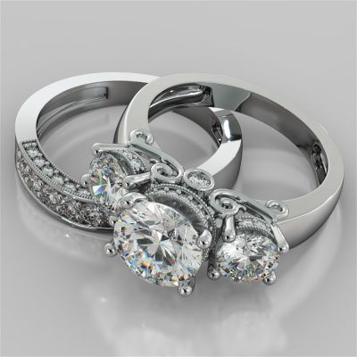 Round Cut Three-Stone Designer Wedding Set with Filigree Accents
