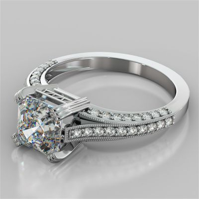 Tapered Cathedral Asscher Cut Engagement Ring