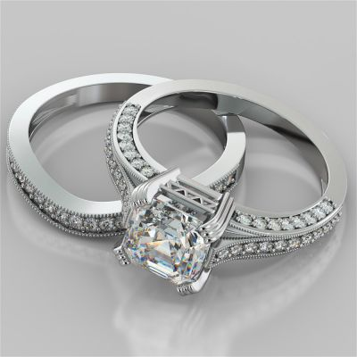 Tapered Claw-Style Asscher Cut Wedding Set with Accents