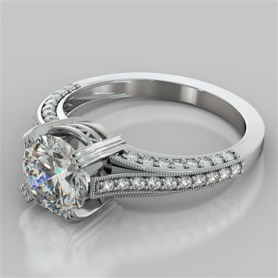 Round Cut Crown Cathedral Engagement Ring