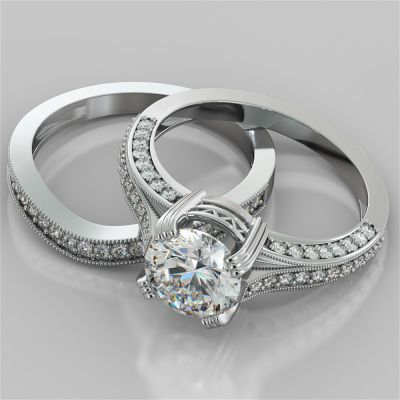 Double Claw Style Round Cut Wedding Set with Accents