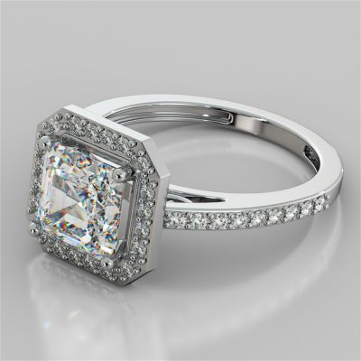 Asscher Cut Halo Filigree Style Engagement Ring
