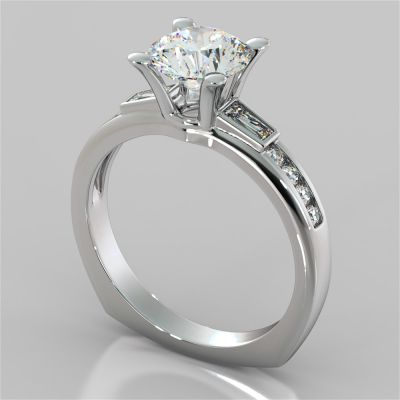 Round Cut Euro-Style Channel Set Engagement Ring