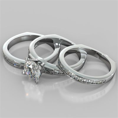 Round Cut Euro-Style Channel Set Wedding Set With 2 Matching Bands