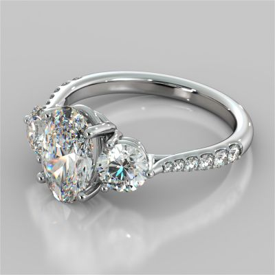 Oval Cut Three-Stone Engagement Ring With Accents