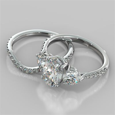 2.4Ct Oval Cut Three-Stone Wedding Set With Accents in 14K White Gold