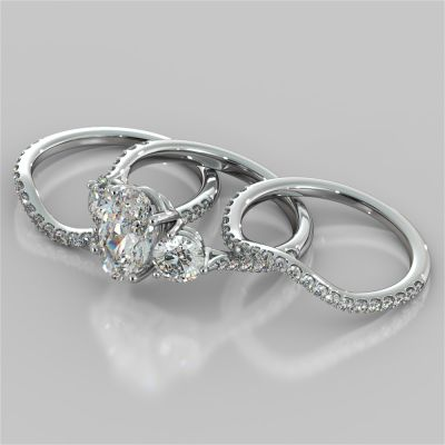 Oval Cut Accented Three-Stone Wedding Set With 2 Matching Bands