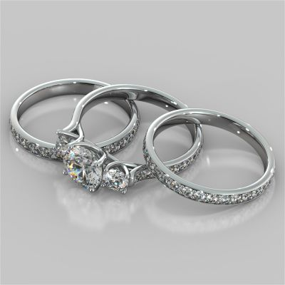 Round Cut Three Stone Trellis Wedding Set With 2 Matching Bands