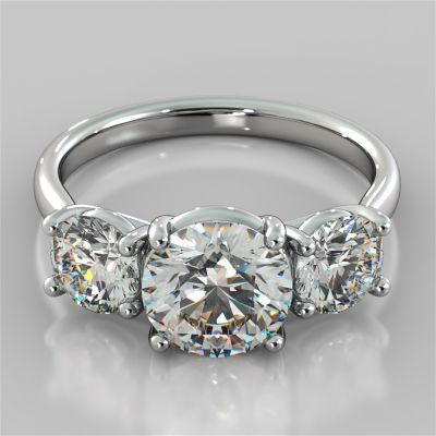 Round Cut Three-Stone Engagement Ring With Accents