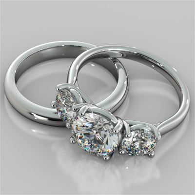Round Cut Three-Stone Wedding Set With Accents