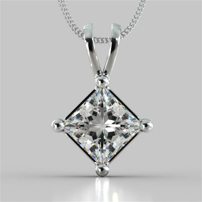 "Princess Cut Solitaire Pendant With 16"" Diamond Cut Cable Chain"