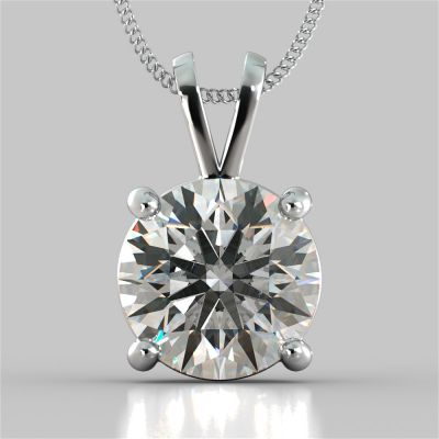 """5.0Ct Round Cut Solitaire Pendant in 14K White Gold With 16"""" Diamond Cut Cable Chain"""