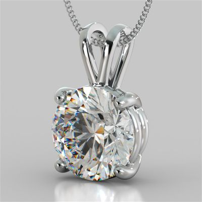 3.0Ct Round Cut Solitaire Pendant in 14K White Gold With Diamond Cut Cable Chain