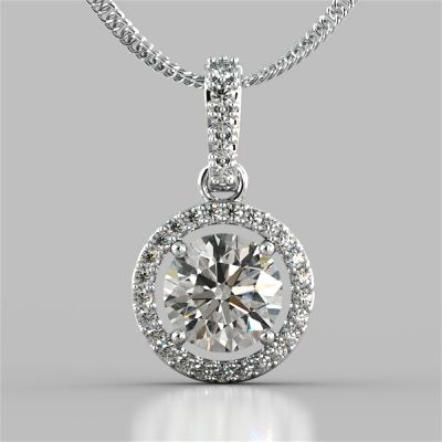 2.33CT Round Cut Embellished Bail and Halo Pendant