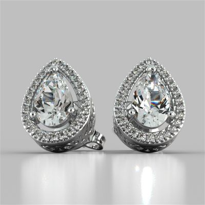 2.26CT Pear Cut Double Tier Halo Earrings