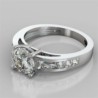 Round Cut Cathedral Engagement Ring with Baguette Accents