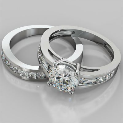 Round Cut Wedding Set With Baguettes Accents