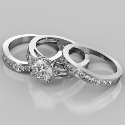 Round Cut Trio Wedding Set With Baguettes Accents