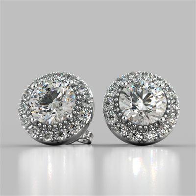 4.42CT Round Cut Beaded Halo Earrings