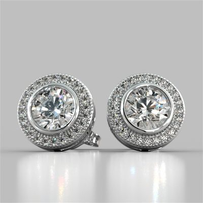2.24CT Round Cut Halo Earrings