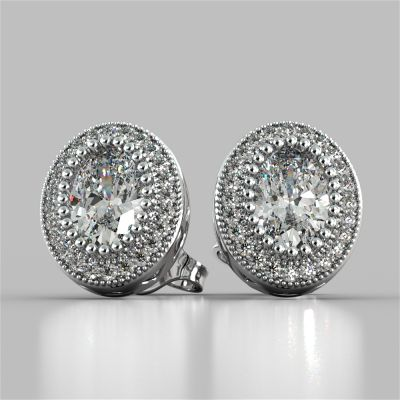 2.36CT Oval Cut Milgrain Halo Earrings