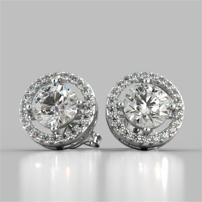 2.44CT Round Cut Halo Earrings