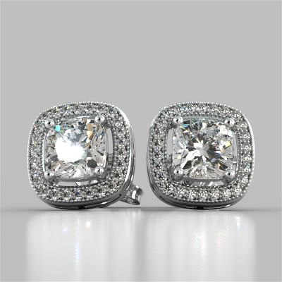 1.76CT Round Cut Beaded Halo Earrings