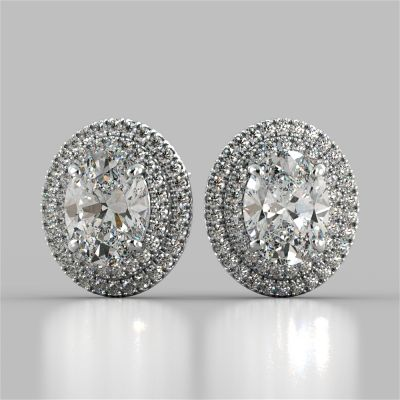 5.8CT Oval Cut Prong Set Double Tier Halo Earrings