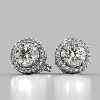 2.32CT Round Cut Prong Set Tier Halo Earrings