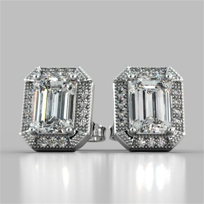 2.14CT Emerald Cut Halo Earrings
