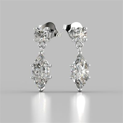 2.5CT Marquise Cut Drop Style Earrings