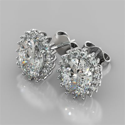 3.04CT Oval Cut Double Halo Earrings