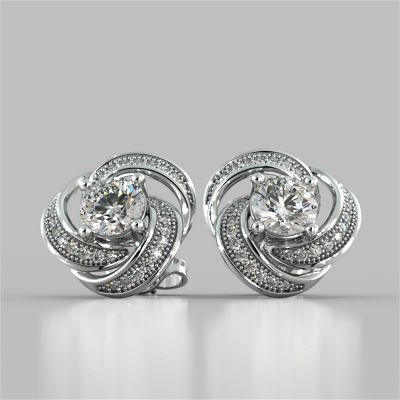1.81CT Round Cut Swirl Halo Earrings