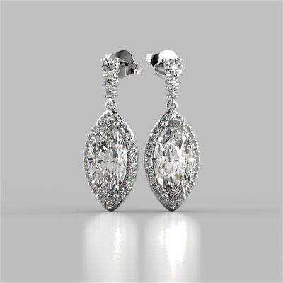 6.89CT Marquise Cut Drop Style Slider Bail Earrings