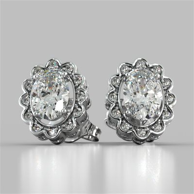 2.12CT Oval-Cut Halo Earrings