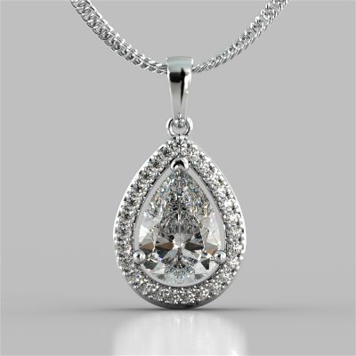 2.27CT Pear Cut Color Halo Pendant