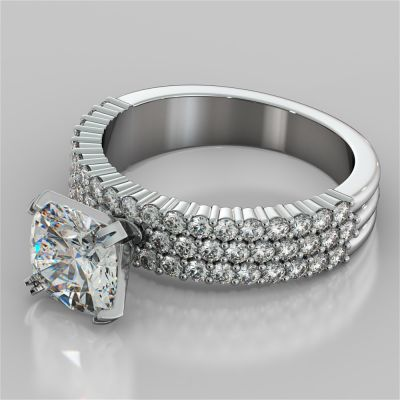Cushion Cut 3-Row Bar Set Style Engagement Ring