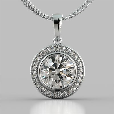 2.15CT Round Cut Slider Halo Pendant
