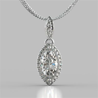 1.44CT Marquise Cut Drop Style With Embellished Bail Pendant